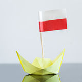 Paper ship with polish flag. Concept shipment or free trade agreement Royalty Free Stock Photos