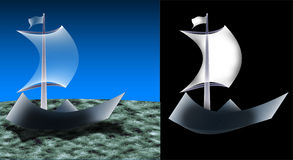 Paper ship on the sea. There are two options: ship and the ship isolated on a background of the sea. Ship - a symbol of individuality (in business), creativity ( Stock Image