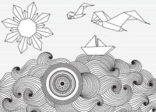 Paper ship and sun with doodle sea waves and seagulls Royalty Free Stock Photography