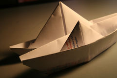 Paper ships. Two paper ships toy for kids stock images