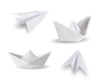 Paper ships and paper planes Stock Images