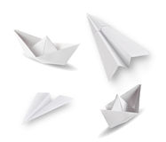 Paper ships and planes Stock Images