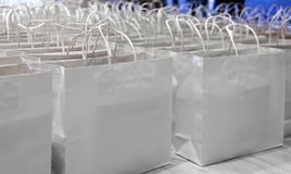 Paper shopping back ready for sale. White paper bag ready for shopper on sale festival Stock Image