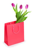 Paper shopping bag. And bunch of tulips, isolated Royalty Free Stock Image