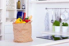 Paper shopping bag full of food Royalty Free Stock Images