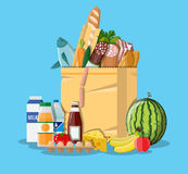 Paper shopping bag full of groceries products. Grocery store. Supermarket. Fresh organic food and drinks. Vector illustration in flat style Royalty Free Stock Image