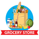Paper shopping bag full of groceries products. Grocery store. Supermarket. Fresh organic food and drinks. Vector illustration in flat style Stock Photo