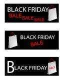 Paper Shopping Bags for Black Friday Special Stock Photos