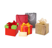 Paper shopping bags and box, tag, ribbon isolated Royalty Free Stock Image