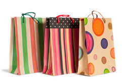 Paper shopping bags. Shopping bags isolated on white background Stock Photos