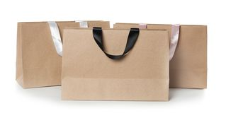 Paper shopping bags isolated on white. Mock up for design stock images