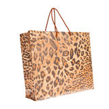 Paper shopping bags with leopard or jaguar pattern Stock Photos