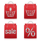 Paper shopping bags in red  on white background Royalty Free Stock Photos