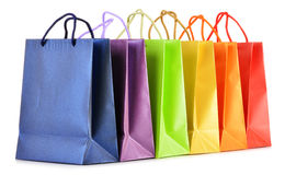 Paper shopping bags on white background Stock Images