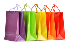 Paper shopping bags on white background Stock Photos