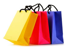 Paper shopping bags on white background Royalty Free Stock Photos