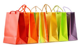 Paper shopping bags on white background Stock Photography