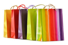 Paper shopping bags on white background Royalty Free Stock Photo