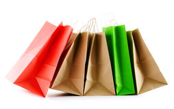 Paper shopping bags on white background Stock Photo