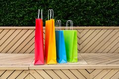 Paper shopping bags stock images