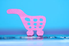 Paper shopping cart, e-commerce concept Stock Images