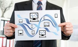 Network communication concept shown by a businessman. Paper showing network communication concept held by a businessman royalty free illustration
