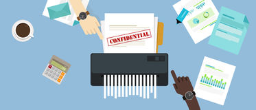 Paper shredder confidential and private document office information protection Royalty Free Stock Images