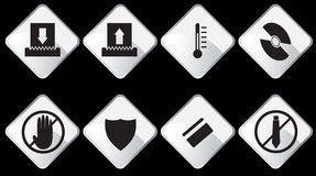 Paper Shredder Icons - Black and White Stock Photos