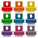Paper Shredder Icons set stock illustration