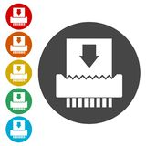 Paper Shredder Icons set vector illustration