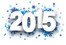 2015 paper sign over snowflakes. Happy 2015 new year with blue snowflakes. Vector illustration vector illustration