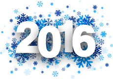 2016 paper sign over snowflakes. Happy 2016 new year with blue snowflakes. Vector illustration Royalty Free Stock Images