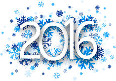 2016 paper sign over snowflakes Stock Image