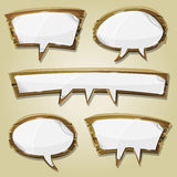 Paper Signs On Wood Speech Bubbles Set Stock Photo
