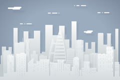Paper Silhouette Seamless Urban Landscape City Real Estate Summer Day Background Flat Design Concept Icon Template Royalty Free Stock Photography