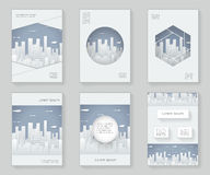 Paper Silhouette Urban Landscape City Real Estate 3d over design template abstract design decorative pattern frame Royalty Free Stock Photos
