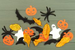 Paper silhouettes of different Halloween characters Royalty Free Stock Images
