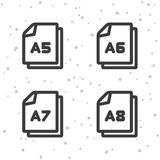 Paper size A5 A6 A7 A8 icons. Document symbol. Eps10 Vector royalty free illustration