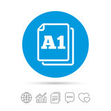 Paper size A1 standard icon. Document symbol. Paper size A1 standard icon. File document symbol. Copy files, chat speech bubble and chart web icons. Vector Royalty Free Illustration