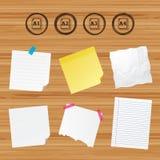 Paper size standard icons. Document symbol. Business paper banners with notes. Paper size standard icons. Document symbols. A1, A2, A3 and A4 page signs. Sticky stock illustration