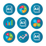 Paper size standard icons. Document symbol. Business pie chart. Growth curve. Presentation buttons. Paper size standard icons. Document symbols. A1, A2, A3 and Stock Illustration