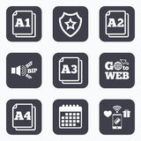 Paper size standard icons. Document symbol. Mobile payments, wifi and calendar icons. Paper size standard icons. Document symbols. A1, A2, A3 and A4 page signs Stock Illustration