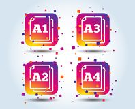 Paper size standard icons. Document symbol. Paper size standard icons. Document symbols. A1, A2, A3 and A4 page signs. Colour gradient square buttons. Flat vector illustration