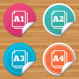 Paper size standard icons. Document symbol. Round stickers or website banners. Paper size standard icons. Document symbols. A1, A2, A3 and A4 page signs. Circle vector illustration