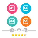 Paper size standard icons. Document symbol. Paper size standard icons. Document symbols. A1, A2, A3 and A4 page signs. Calendar, cogwheel and report linear Royalty Free Illustration