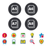 Paper size standard icons. Document symbol. Paper size standard icons. Document symbols. A5, A6, A7 and A8 page signs. Calendar, Information and Download signs stock illustration