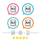 Paper size standard icons. Document symbol. Paper size standard icons. Document symbols. A1, A2, A3 and A4 page signs. Calendar, internet globe and report royalty free illustration