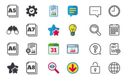 Paper size standard icons. Document symbol. Paper size standard icons. Document symbols. A5, A6, A7 and A8 page signs. Chat, Report and Calendar signs. Stars stock illustration
