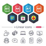 Paper size standard icons. Document symbol. Paper size standard icons. Document symbols. A5, A6, A7 and A8 page signs. Chat, Report graph line icons. More vector illustration