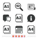 Paper size standard icons. Document symbol. Paper size standard icons. Document symbols. A1, A2, A3 and A4 page signs. Newspaper, information and calendar icons Vector Illustration